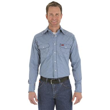 Wrangler® RIGGS Workwear® Men's FR Flame Resistant Work Shirt, Blue Plaid