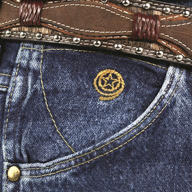 Embroidered rope and star logo on right pocket inset, Denim Stone