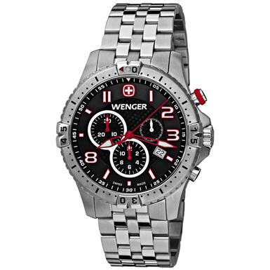 Wenger® 77056 Squadron Chrono Stainless Steel Watch, Black