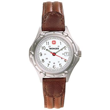 Women's Wenger® 70200 Standard Issue Watch with Leather Band, Brown