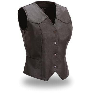 Women's FMC® Fitted Leather Vest, Black