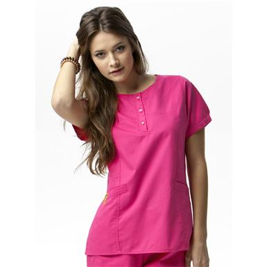 Women's Wonderwink® Round Neck Fashion Top, Hot Pink
