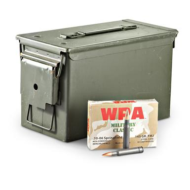 Wolf WPA Military Classic, .30-06 Springfield, FMJ, 145 Grain, 200 Rounds with Can