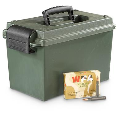200 rounds .30-06 145 Grain FMJ Ammo with Can