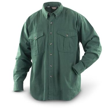 Button-down collar Pleated chest pockets 7-button front  Pleated sleeves roll up easily, Hunter Green