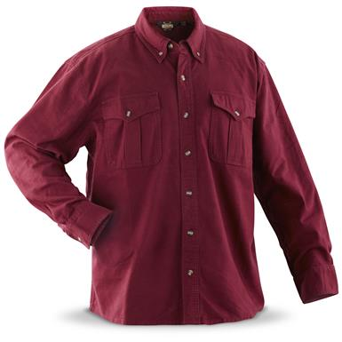 Guide Gear Men's Cotton Chamois Shirt, Wine