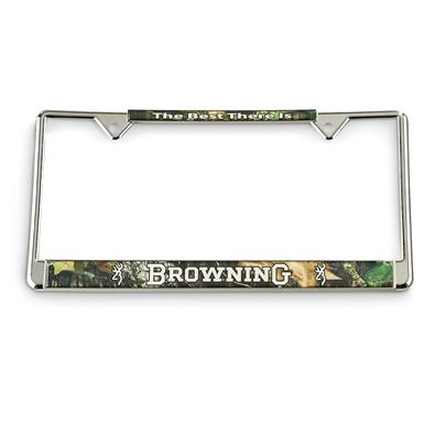 Browning® License Plate Frame, Silver / Mossy Oak®