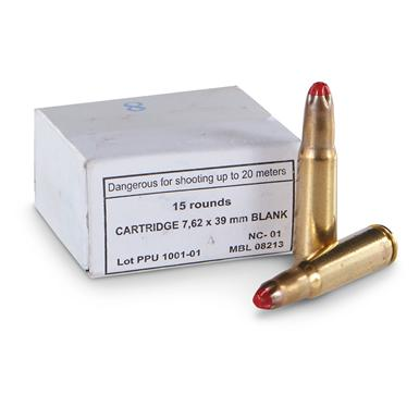 PPU, 7.62x39mm M-68, Standard Blank Ammo, 15 Rounds