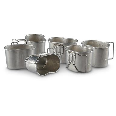 French Military Surplus Canteen Cups, 6 Pack, Like New