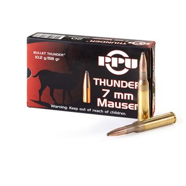 PPU Thunder, 7mm Mauser, GROM SP, 158 Grain, 20 Rounds