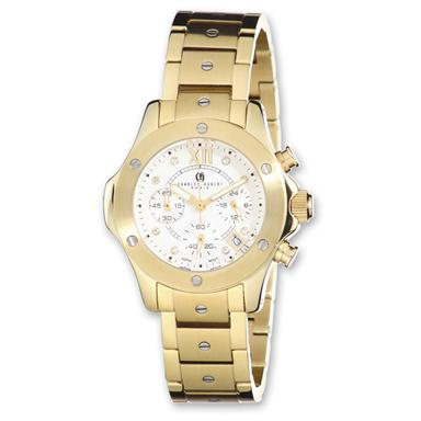 Women's Charles-Hubert® Silver Dial Chronograph Watch, Gold Plated