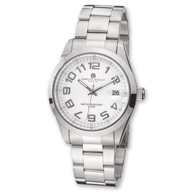 Men's Charles-Hubert® Stainless Steel / White Dial Watch