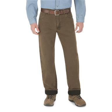 Wrangler Men's Rugged Wear Thermal Jeans, Brown
