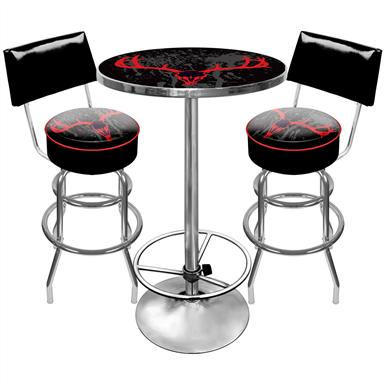 Trademark® Hunt Skull Gameroom Combo-2 Bar Stools with Back, and Table
