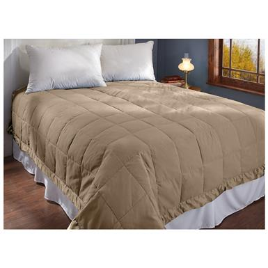 CASTLECREEK Microfiber Down and Feather Blanket, Khaki
