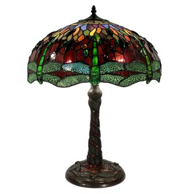 Tiffany-style 2-light Red / Green Dragonfly Table Lamp