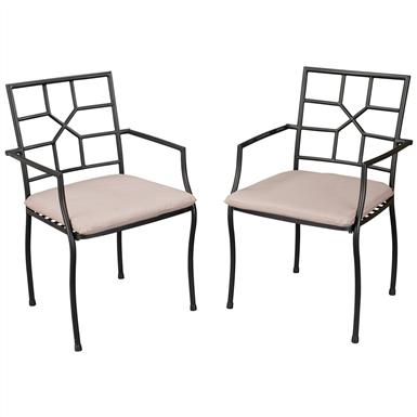 Cambria Powder-coated Steel Arm Chairs, Pair