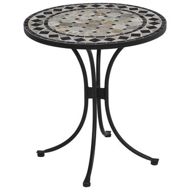 Tan and Black Tile Top Outdoor Bistro Table