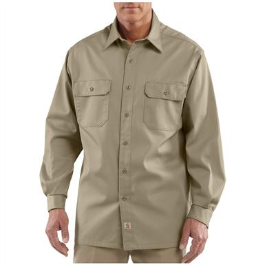 Men's Carhartt® Workwear Long-sleeve Twill Work Shirt, Khaki