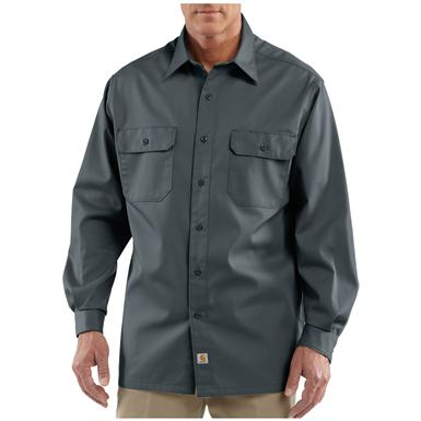 Men's Carhartt® Workwear Long-sleeve Twill Work Shirt, Dark Gray