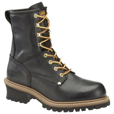 Men's Carolina® 8 inch Steel Toe Logger Work Boots, Black