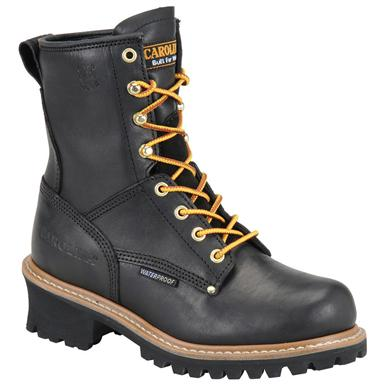 Carolina Women's Waterproof Logger Boots, Black
