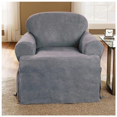 Microsuede T-Cushion Furniture Cover, Smoke Blue