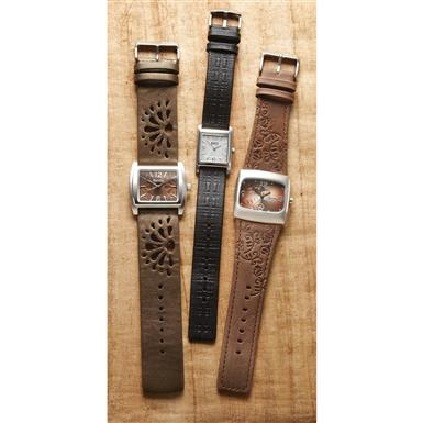 Women's Roots® Leather Watch • From Left to Right: Bloom, Tartan and Woodland