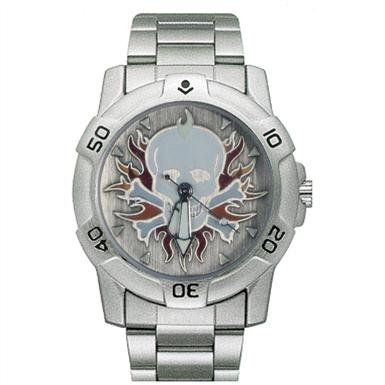 Ram Ride Free Skull with Flames Chrome Biker Watch