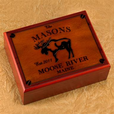 Personalized Cabin Series Moose Cedar-Lined Humidor