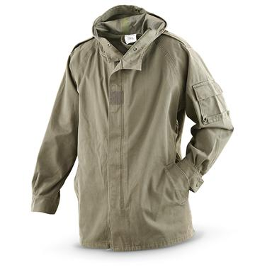 Used French Military Waterproof Parka, Olive Drab