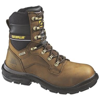 Men's CAT® 8 inch Generator Waterproof Steel Toe 400 Gram Insulated Work Boots, Dark Brown