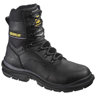 Men's CAT® 8 inch Generator Waterproof Steel Toe 400 Gram Insulated Work Boots, Black