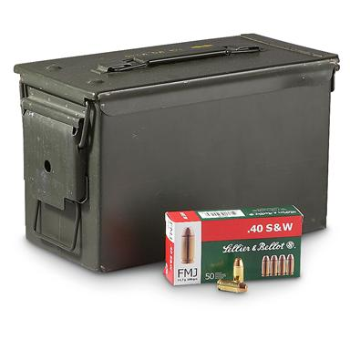 500 rds. Sellier & Bellot® .40 S&W 180 Grain FMJ Ammo with .50 cal. Can