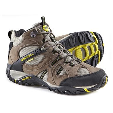 Merrell Men's Yokota Trail Mid Waterproof Hiking Shoes, Brindle / Firefly