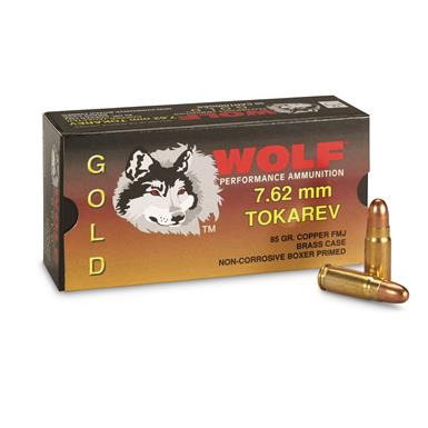 Wolf Gold, 7.62x25mm Tokarev, FMJ, 85 Grain, 50 Rounds