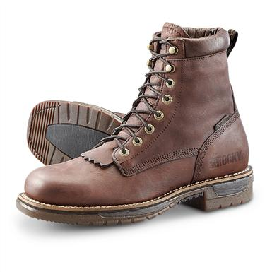 Men's Rocky® Ride Steel Toe Waterproof Lacer Work Boots, Brown