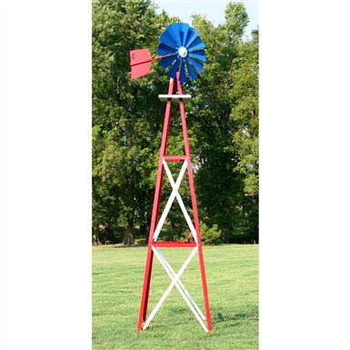 Outdoor Water Solutions® Ornamental Large Powder-coated Backyard Windmill, Red / White / Blue