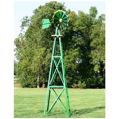 Outdoor Water Solutions® Ornamental Large Powder-coated Backyard Windmill, Green / Yellow