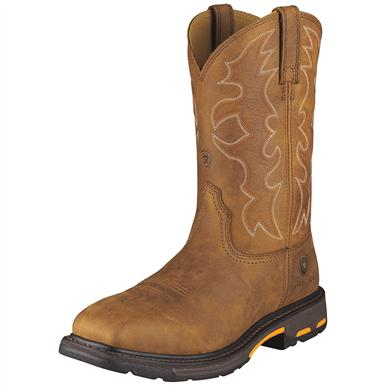 Ariat Men's WorkHog Steel Toe Western Work Boots, Rugged Bark