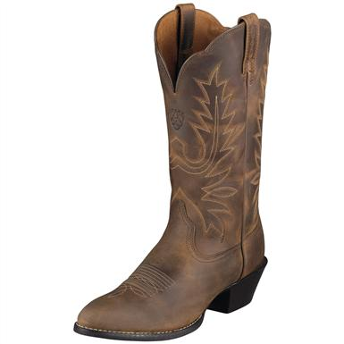 Women's Ariat® 12 inch Heritage Western R-Toe Cowboy Boots, Distressed Brown