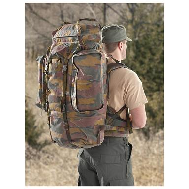 Used Belgian Military XL Rucksack, Belgium Camo • 6,720-cu. in. capacity