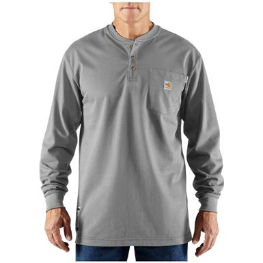 Men's Carhartt® Force™ Flame-resistant Long-sleeve Cotton Work Henley, Light Grey