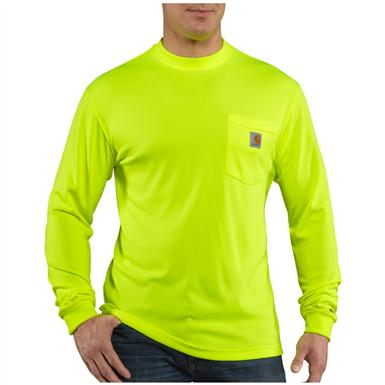 Men's Carhartt® Force™ High-visibility Long-sleeve T-shirt, Brite Lime