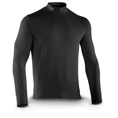 Under Armour Men's ColdGear Infrared EVO Mock Turtleneck Long Sleeve Shirt, Black / Steel