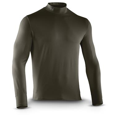 Under Armour Men's ColdGear Infrared EVO Mock Turtleneck Long Sleeve Shirt, Rifle Green / Battleship