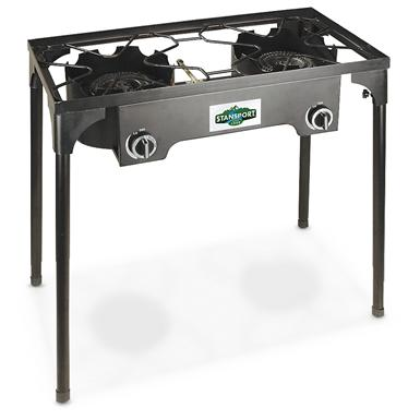 Stansport Deluxe 2 Burner Cast Iron Camp Stove with Stand