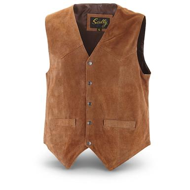 Scully Men's Cowhide Suede Vest, Rust