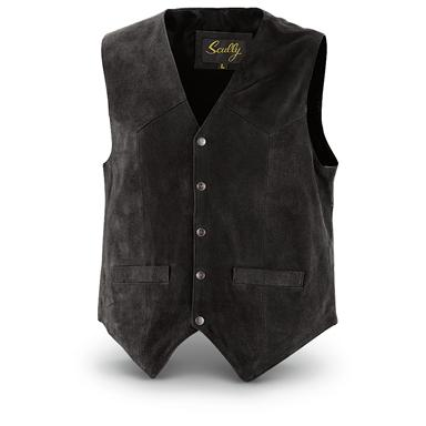 Scully Men's Cowhide Suede Vest, Black