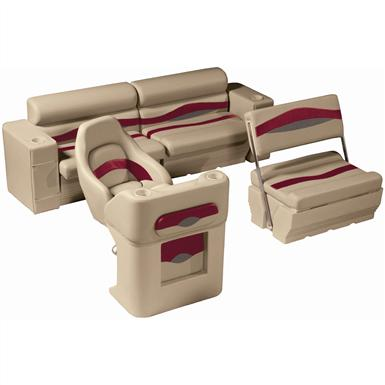 Wise® Premier Pontoon Traditional Rear Seat Group, Color E - Mocha Java Punch / Dark Red / Rock Salt
